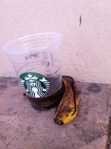 Spotted on March 6 at 5:25 PM, on Geary and 41st Ave. Probably left there sometime that morning or the morning before, judging by the dregs in that cup.
