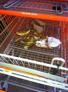 Bob spotted this shocking scene in Home Depot on New Year's Day.