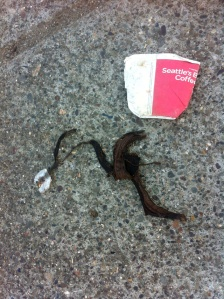 Bob spotted this spidery remains of someone's rushed breakfast, on the street in oakland.